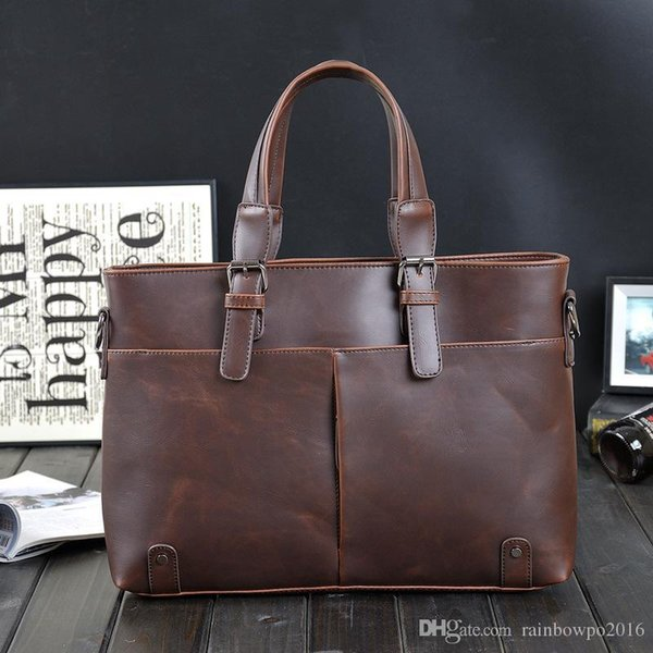 Factory sales brand Korean male bag retro crazy horse leather briefcase classic men's pure leisure business men Shoulder Messenger Bag