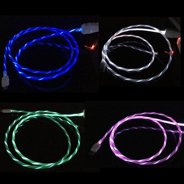 LED, die sichtbares blinkendes Kabel-Micro-USB-Daten-Synchronisierungs-Ladekabel 1M 3FT Licht-UP Art C-Kabel-Draht für Samsung S8 S9 plus HTC Universal
