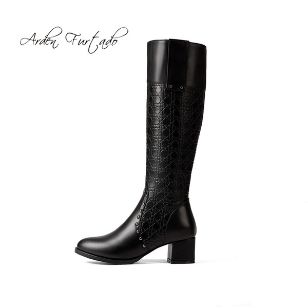 450fd92c8e5 Arden Furtado 2018 winter genuine leather chunky heels knee high boots  small size 32 33 women s shoes