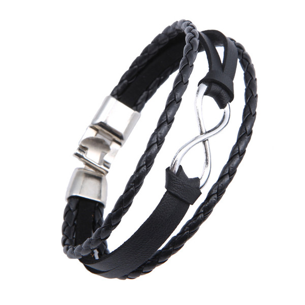 2018 Fashion Infinity Bracelet Hand Woven Wrap Leather Bracelet Black Brown Rope Chain Bracelets Men Lucky Jewelry Male Gifts