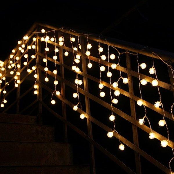 8 Mt X 0,5 Mt 192 LED Weihnachtslicht AC220V EU Romantische Fee LED Vorhang Plüsch Ball Lichterketten Für Urlaub Hochzeit Girlande Party Dekoration