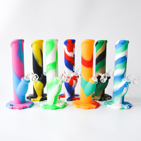 High Quality 10.5 Inches Silicone Water Pipe Unbreakabale Silicone Bongs with silicone downstem and 4mm quartz banger free shipping
