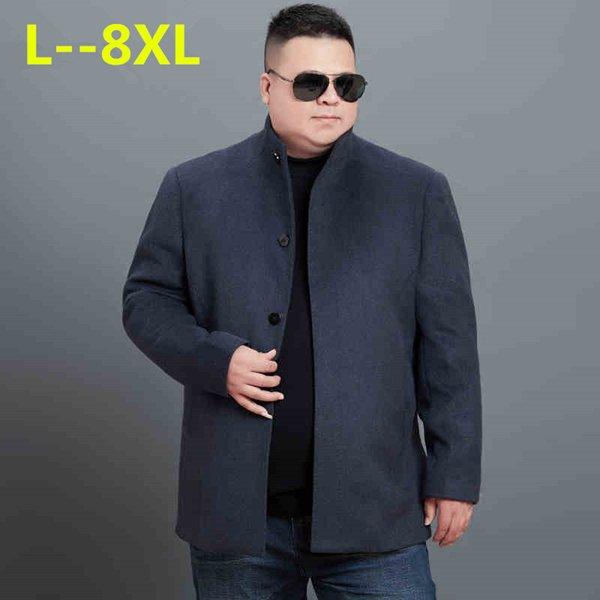 Artı boyutu 8XL 6XL 5XL 4XL YENI 2018 Yüksek Kalite Mens Uzun Yün Trençkot Kore Erkekler için Slim fit Siper Parkas Kış