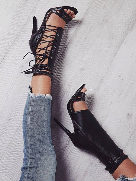 Tamanho grande verão aberto toe sexy sandálias preto fivela de cinto de damasco gladiador stiletto de salto alto botas de couro boate sapatos para as mulheres