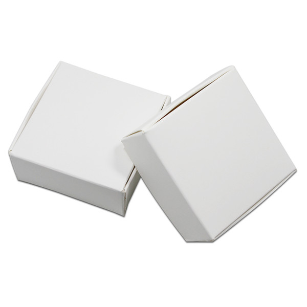 50Pcs White Carton Paper Jewelry Package Box Natural Kraft Paper DIY Crafts Packing Box Paperboard Gift Candy Pack Box free shipping
