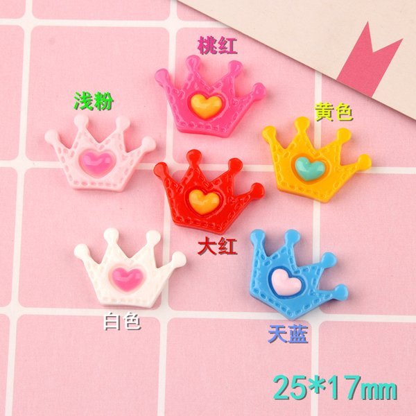 25*17mm Resin heart crown charms diy girl children jewelry making resin kawaii cabochon craft decoration boutique