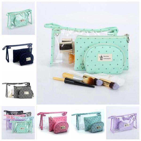 2018 3Pcs/Set Girls Cosmetic Bags Women Waterproof Travel Make Up Bag Outdoor Toiletry Tote Cosmetics Organizer Handbag DDA767 Kids Purse