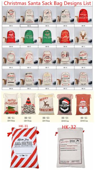 2018 sacs cadeaux de Noël grand sac de toile lourd organique sac de sac à dos Santa Sac avec Rennes sacs de sac de père Noël pour les enfants