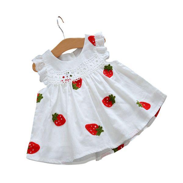 Vestido de bebê branco morango flores a linha baby girl dress algodão roupas de verão recém nascidos infantil menina vestidos para festa de aniversário