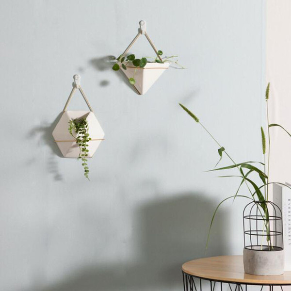 Ceramic Green Plant Pots Indoor Wall Succulents Planters Hanging Flower Pot Modern Wall Planters For Home Decoration