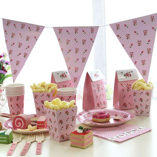 Partie Disposabl Vaisselle Fournitures Rose Point De Vague Vaisselle En Papier Assiette Tasse Pour Enfants Décoration De Mariage Partie