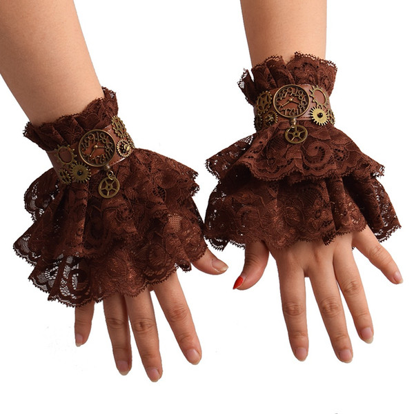 1 pair Women Steampunk Gear Brown Lace Wrist Cuff Vintage Wristbands Party Cosplay Accessory High Qauality