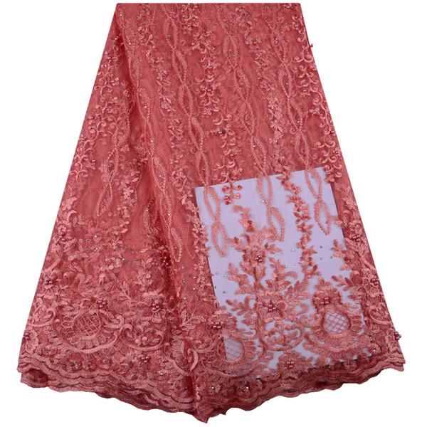 2019 Mais Recente Frisado Francês Nigeriano Laços Tecidos de Alta Qualidade de Tule Africano Laços de Tecido de Casamento Africano Francês Tulle Rendas 1423
