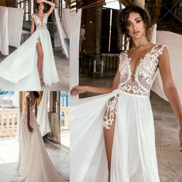 2018 Julie Vino Dentelle Boho Robes De Mariée Sexy En Mousseline De Soie Sheer Profonde V Cou Haute Split Robes De Mariée Robe De Nouvelle