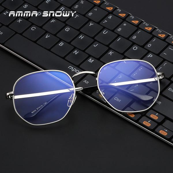 AMMA SNOWY Nuevo Polígono Metal Anti Azul Gafas de Luz Óptica Gafas Gafas UV 400 Protección Gafas Mujeres Hombres AS070