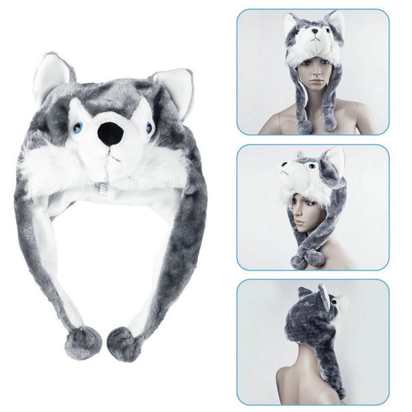 Cartoon Animal style Hood Wolf Hat Hoods Beanies Cute Fluffy kids Caps Soft Warm Scarf Earmuff Plush Huskies Hats Sale Wholesale