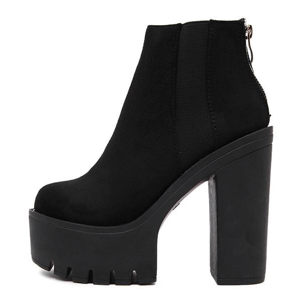 Moda Siyah Kadınlar Için Ayak Bileği Çizmeler Kalın Topuklar 2018 Yeni Sonbahar Akın Platformu Ayakkabı Yüksek Topuklar Siyah Fermuar ...