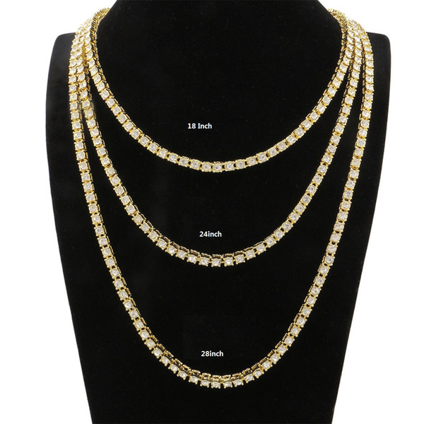 Hot sale fashion ice out mens tennis chain necklace with 5mm cz prong paved for men hip hop jewelry