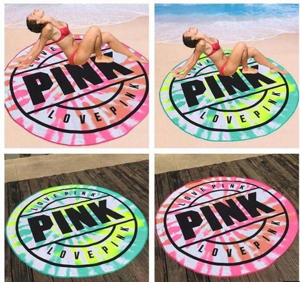 gangbie1688 / Pink Round Beach Towel Microfiber 160cm Absorbent Quick Drying Towels Swimming Bath Sports Towels Picnic Blanket Outdoor Mat Shawl Yoga mat