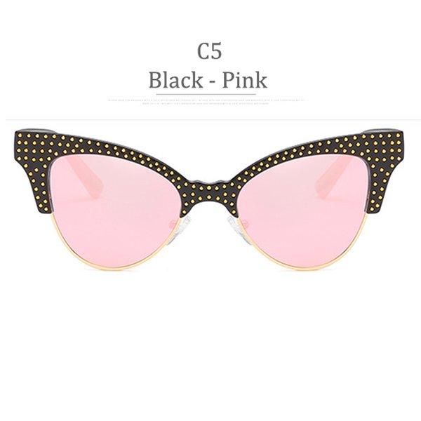 C5 Glossy Black Frame Pink Miror
