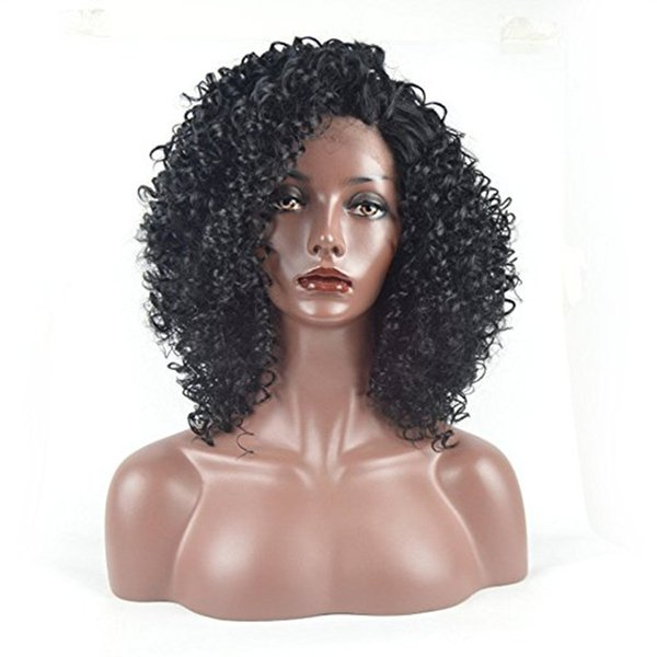 ZhiFan 8-22 inch Fashion Curly Glueless Lace Front Wigs Black Kinky Curly Human Hair Wigs 100% Hand Tied African American