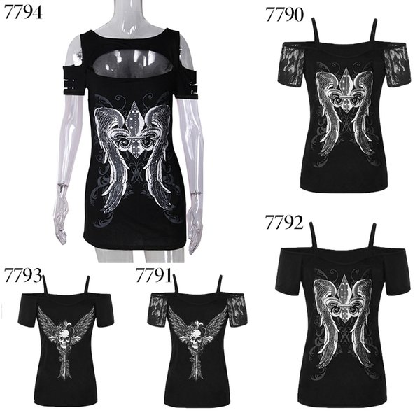Punk style cold shoulder wing printed tee shirts hollow out for women new Summer t shirts 2018 large size s-5xl ws7794y
