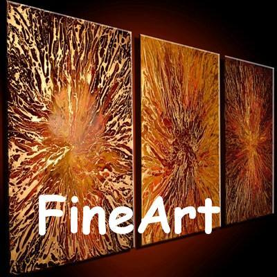 3panels hand-painted orange canvas oil painting on canvas texture abstract art modern artwork unique gifts Kungfu Art
