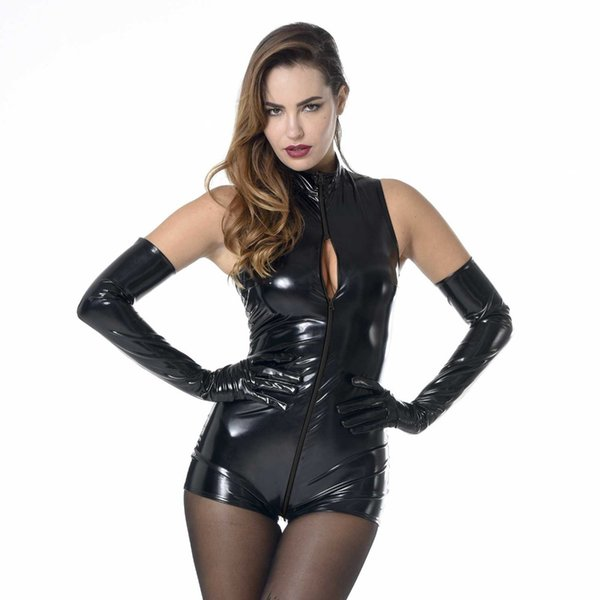 Women Hot Erotic Teddy Lingerie Black Red PU Leather Bodysuit Sexy Open Bust Zipper Catsuit Pole Dancing Costumes With Gloves