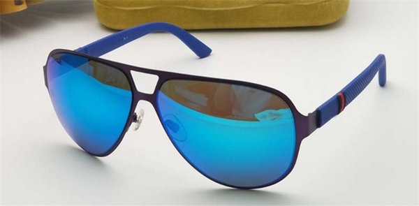 new fashion men brand designer sunglasses wrap sunglass pilot frame coating mirror lens carbon fiber legs summer style G2252