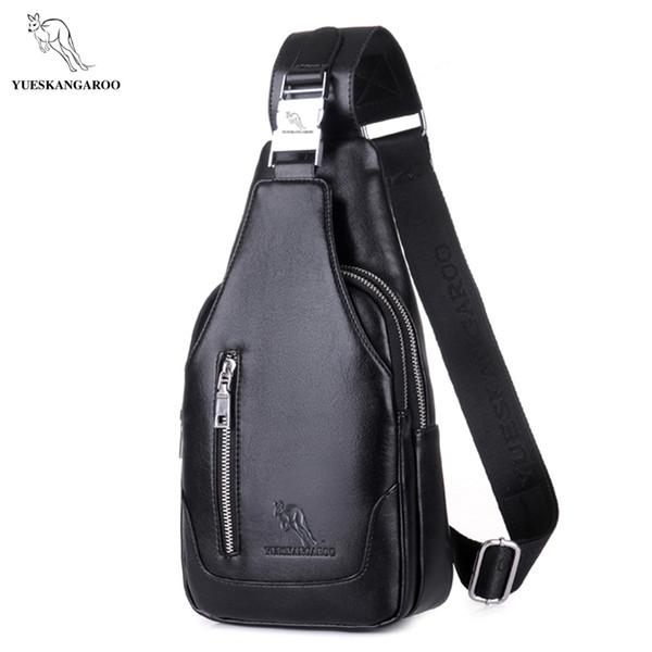 YUES KANGAROO Famous Brand Men Chest Bag Leather Single Shoulder Bag Black Men Travel Crossbody Vintage Rucksack Messenger