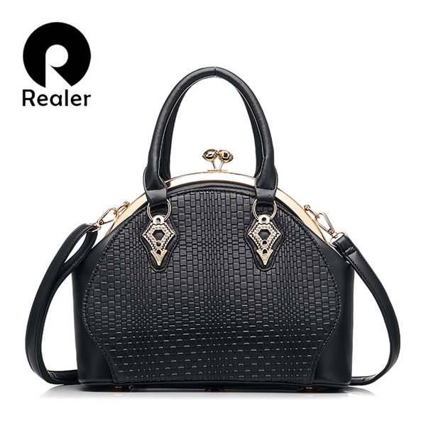 REALER Markenentwurfshandtaschenfrauen arbeiten schwarze Totebeutelqualitäts PU-Lederschulterhandtaschen-Damenbüro-Taschen 5 Farben um