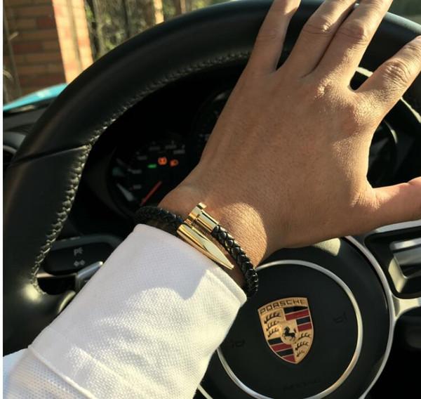Armbänder Männer brackelts Bangles Pulseiras 6mm Weave Echtes Leder Nagel Armband Charm Liebe Manschette Armband Masculina