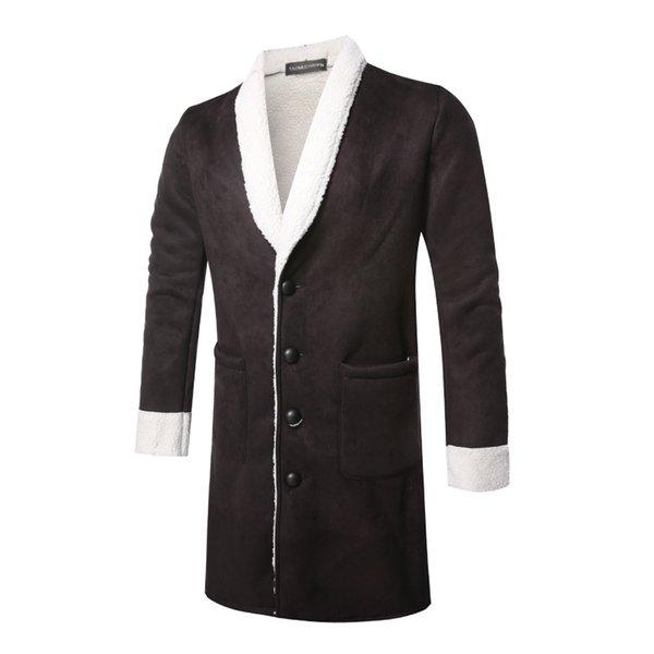 Homens Trench Coat 2018 Inverno Nova Moda Masculina Slim Fit Mens Casaco De Pele De Veludo Grosso Quente Preto Longo Homens Jaqueta M-XL