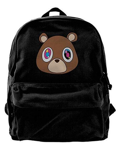 Kanye West Bear Canvas Shoulder Backpack Nueva mochila para hombres, mujeres, adolescentes, viajes universitarios, mochila de día, negro