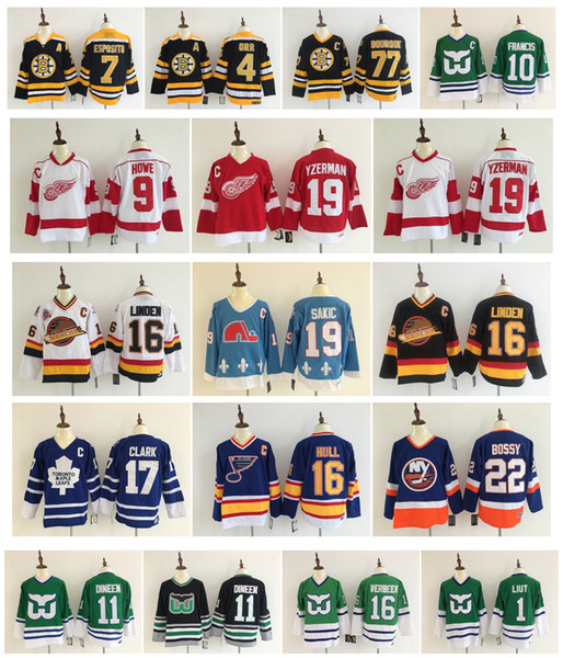 08a535389 Vintage Mike Liut Ron Francis Kevin Dineen Patrick Verbeek Bobby Orr Ray  Bourque Phil Esposito Boston Bruins Hartford Whalers Hockey Jerseys
