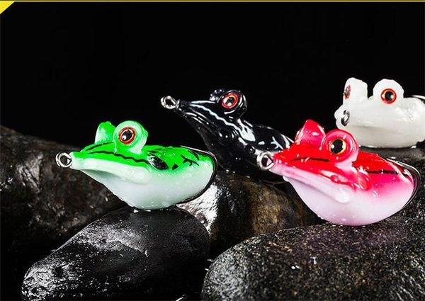 Soft Rubber Frog Snakehead Fishing Lures 3D Big eyes 4.5cm 14g Floating Swimming popper Strong Temptation bait