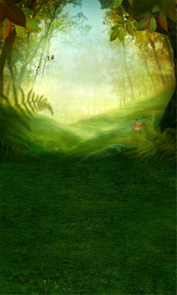 Spring Forest Happy Easter Photo Backdrop Printed Green Grass Tree Leaves Rabbit Bokeh Sunshine Kids Children Photography Background