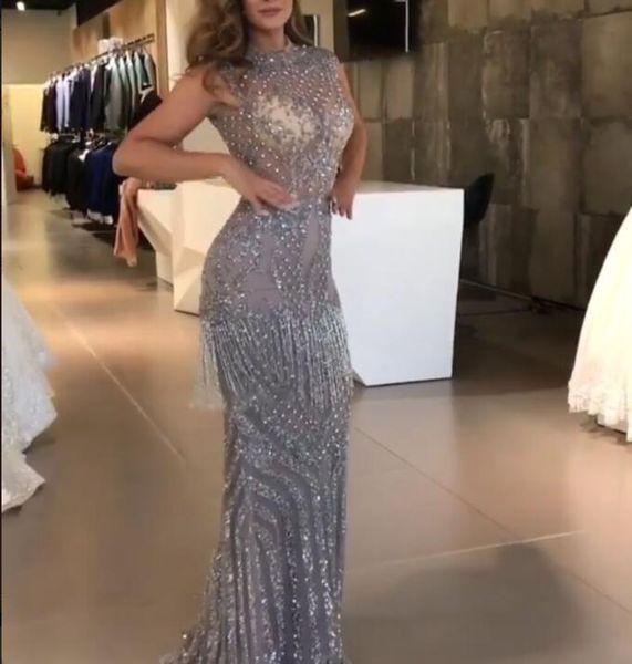 Evening dress Yousef aljasmi Labourjoisie Off shoulder Pearls Grey Tassels Long dress Feather Mermaid Ziad naked Zuhair murad Kim kardashian