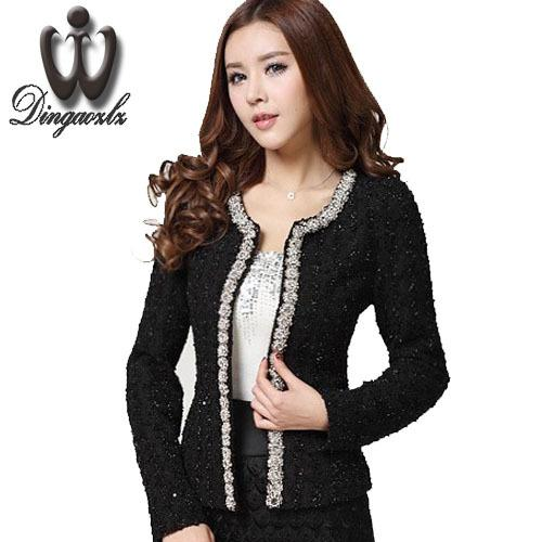 2018 New Women Autumn-Winter coat short design Elegant Beaded Diamond slim Long sleeve Plus size Small Outerwear jacket Y18110501