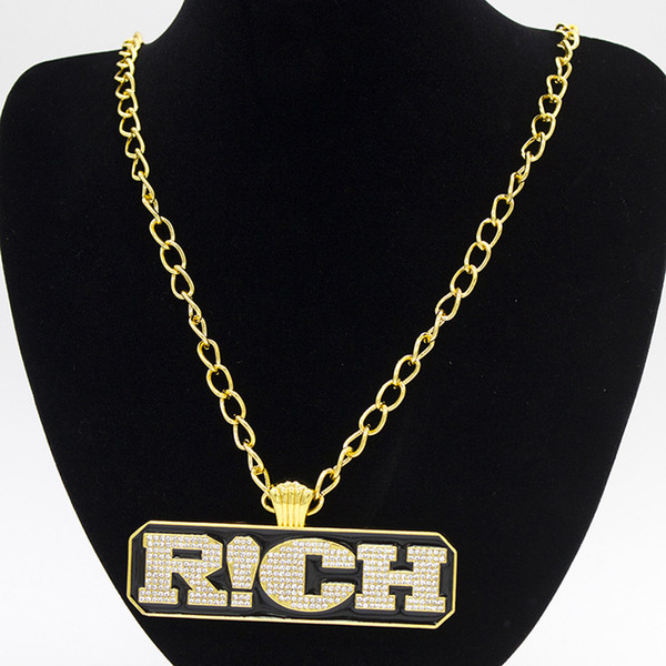 Fashion Punk Hip Hop Men Jewelry Long Cuban Link Chain Full Iced Out Rhinestones RICH Letters Tag Pendant Gold Necklace