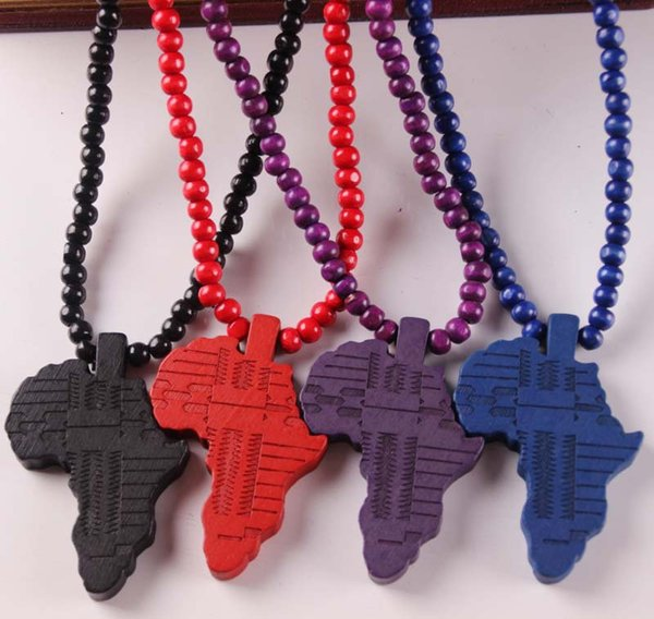 Bulk Lots 4Colors Wood Africa HIPA Map Pendant Hip Hop Jewelry Designer Jewelry Sliver Choker Beads Mens Necklace Mens Chain