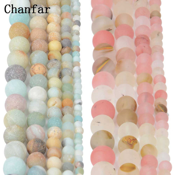 Polish Round Matte Frosted Tiger Eye Turquoises Natural Stone Beads Amazonite Watermelon Loose Beads for Bracelet Jewelry Making