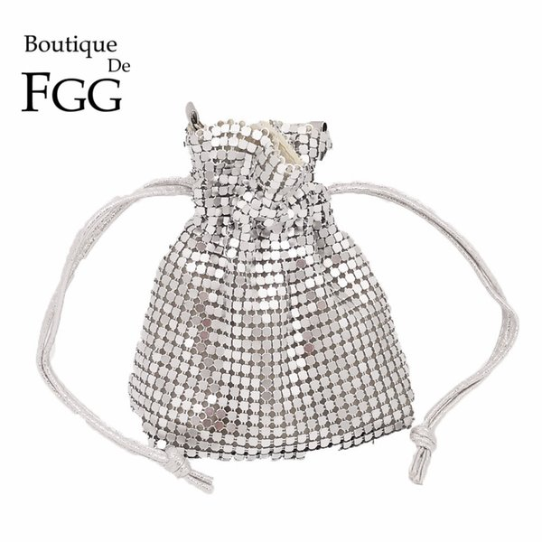 Boutique De FGG Luxury Handbags Women Bag Designer Aluminum Bucket Mini Evening Bags Coin Purse Ladies Party Clutch Handbag