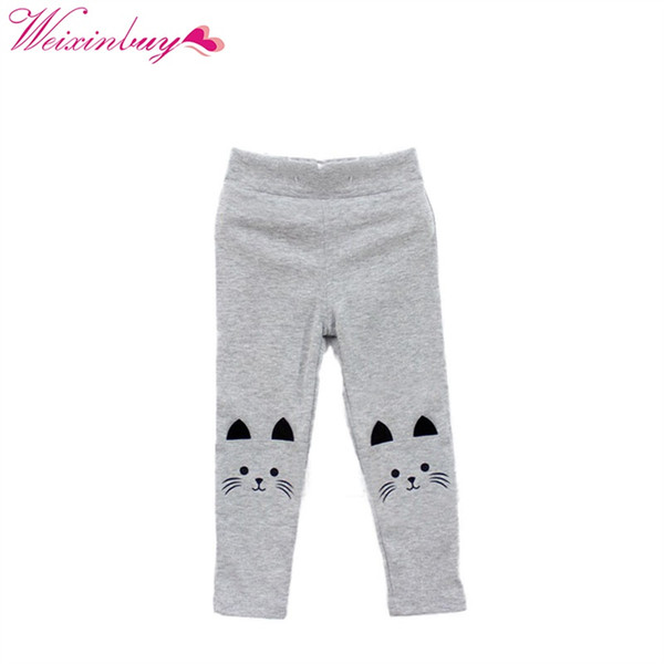 New Style Baby Girl Cute Cat Print Pants Kid Warm Stretch Leggings Trousers 2-7Y