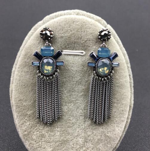 Nouveau strass de luxe en cristal de style rétro palais serti de boucles d'oreilles pompon ocre et femme de longues boucles d'oreilles