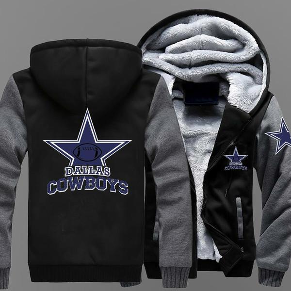 Heiße neue herren wintermantel cowboy dallas team reißverschluss jacke sweatshirts brief druckmuster verdicken fleece hoodie hoodies für männer coa