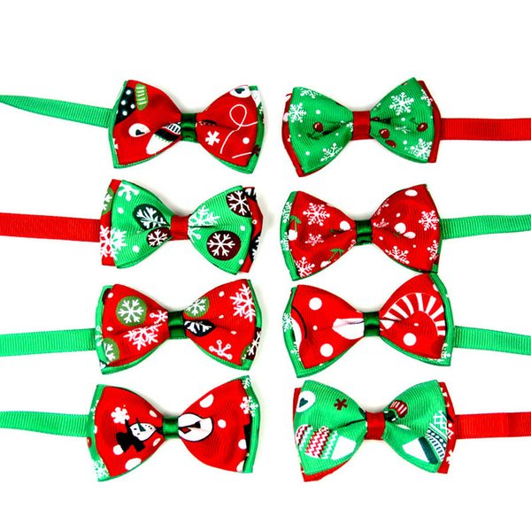 Christmas Holiday Dog Bow snowflakes Ties Cute Neckties Collar Pet Puppy Dog Cat Ties Accessories Grooming Supplies