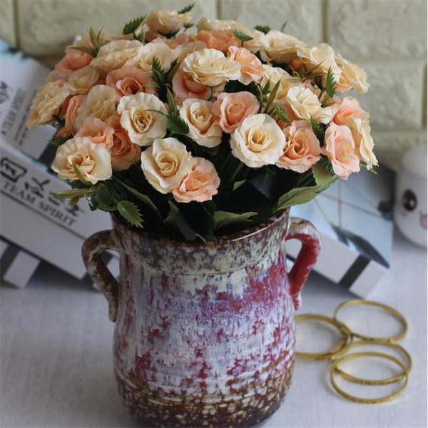 Fake Oil Painting Rose Bunch (6 stems/piece) Simulation Roses for Wedding Home Showcase Decorative Artificial Flowers