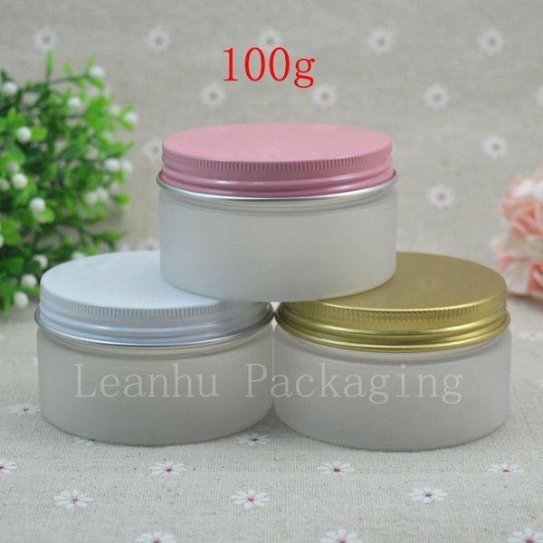 Vasetti di crema in PET bianco satinato da 50 x 100 g, contenitore rotondo in plastica con tappo a vite in alluminio rosa / oro / bianco, flacone cosmetico
