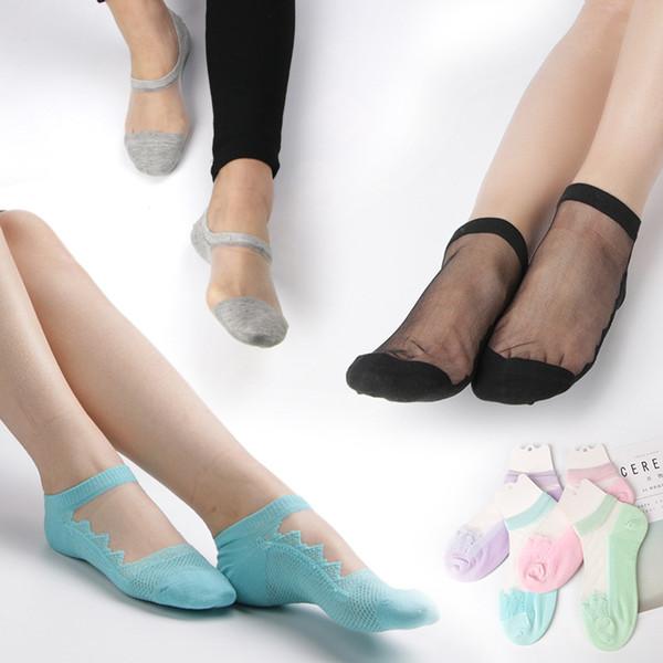 10 пара / лот Корея Кристалл шелковые носки хлопок дно анти-скольжения прозрачный черный цвет мяса тонкий весна лето носки женщин 22-25 см